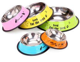 Cão de aço inoxidável tigela esporte viagem Pet dog cat food feeder Beber água ao ar livre Fountain pet alimentação ferramenta estilo dos desenhos animados de Fornecedores de desenhos animados para tigela