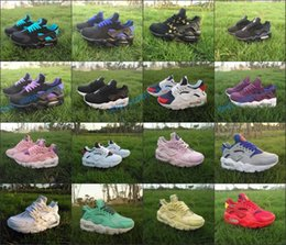 Wholesale shoe air camo - 2018 New kids Air Huarache Sneakers Red Green Camo Rainbow Lightweight Hurach Running Shoes breathable Huaraches Kids Shoes Boots size 28-35