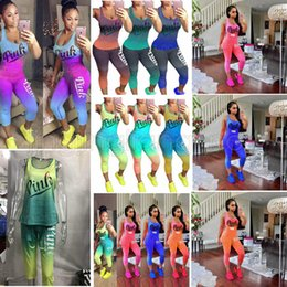 Wholesale olive green t shirts - Women Love Pink Letter Tracksuit Summer Sleeveless T Shirt Tank Top Vest Tights Pants Outfit Sportswear Casual Clothing set GGA530 10PCS