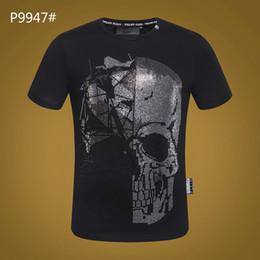 5b2f4c9b107f 2019 Nuova Estate Cotone Divertente T-Shirt T-shirt maniche corte Uomo Moda  Tide marca Stampa Phillip Plain Maglietta nera Uomo Top Tees