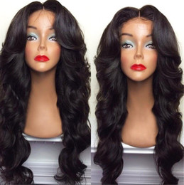 Wholesale celebrity hair curly - Celebrity style Synthetic wigs loose body wave Hair Wig Natural black 1B color with side bangs black women full wigs