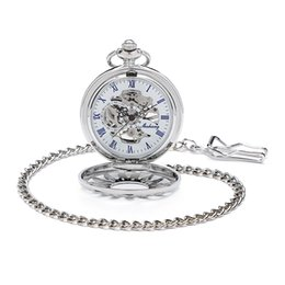 Wholesale Vintage Silver Pocket Watch Chain - Skeleton Hollow Case Roman Number White Dial Hand Wind Mechanical Mens Pocket Watch W Chain Antique Vintage Steampunk Watch