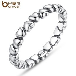Wholesale Forever Crystals Jewelry - Genuine S925 Sterling Silver Forever Love Heart Finger Ring Fit Pandora Style Wedding Rings For Women Valentine's Day Gift Fashion Jewelry