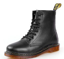 2018 Mens Womens martin botas tornozelo sapatos de couro genuíno botas de vaca muscular único rendas até sapatos para Homens zy847 de