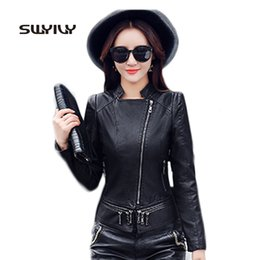 Wholesale womens office jacket - Womens PU Leather Jacket 2017 New Arrival Turn Down Collar Zipper Fall Outwear Empire Slim Office Lady Coat Good Quality