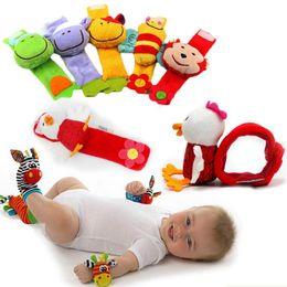 Wholesale Doll Socks Wholesale - Wrist Band Rattle Foot Socks Ring Bell colorful Infant Baby Developmental Toy Plush Newborn Soft Doll Cute