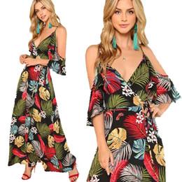44a1511ea5f6 Nova Chegada Maxi Vestido para As Mulheres Verde Laranja Tropical Folha  Imprimir Sexy V Neck Dividir envoltório vestido Camisole Decote Férias de  verão