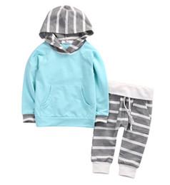 Прохладный ремни мальчиков онлайн-Pudcoco прохладный дети девочки мальчик наряды с длинным рукавом синий с капюшоном длинный пояс полосатые брюки зимняя одежда 2 шт. Набор