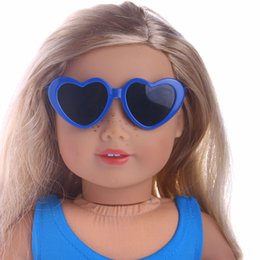 18 inch dolls for girls Promo Codes - Colorful Heart Shape Frame Sunglasses for 18 inch American Girl Doll Daily Costumes Doll Accessories SSDF5522