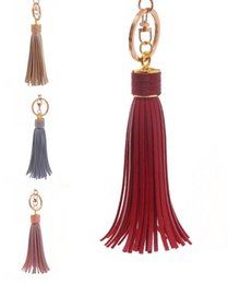 Wholesale Diy Car Leather - 10 Style Car Keychain Leather Tassel Pendant Trend DIY Creative Accessories Bag Ornaments Girl Keyrings Support FBA Drop Shipping G780R
