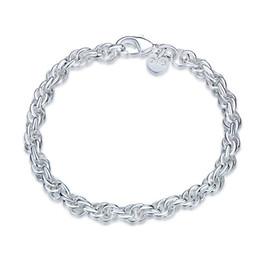 Damen-silber-kette zum verkauf online-Heißer Verkauf! Silberner Armband JSPB513 der runden Popcorndame des Armbandes 925; Neue Ankunft Mädchen Frauen Sterling Silber überzogene Kettengliederarmbänder