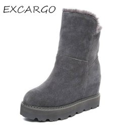 Wholesale Platform Heels 5cm - Women's Boots Ankle Boot Warm Plush Snow Boot Genuine Leather Ankle Boots Pointed Toe 5cm Height Increasing With Platform Shoes