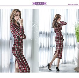 4e1888166e1d 2019 Autumn and Winter New Korean V Neck Long Sleeve Hip Long Skirts Dresses  for Evening Party Nightclub Wear A0031