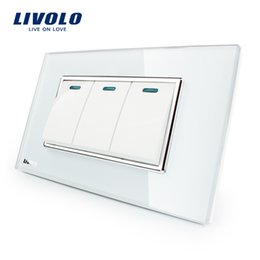 Wholesale crystal home button - Livolo Luxury White Crystal Glass Panel, 3 Gang, 2 Way Push Button Home Wall Switch,VL-C3K3S-81