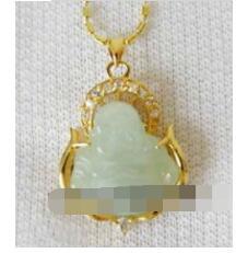 Luces colgantes de color verde amarillo online-Envío gratis Jewelr Natural Light Green Buddha amarillo plateado colgante y collar