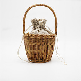 Wholesale Korean String Bag - Straw Bucket Basket Bag Women ins Hot Summer Drawstring Tote Lady Handbag Small Sweet Korean Knitted Beach Bag C244