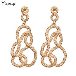 Wholesale Lucky Jade - Yhpup Lucky NO.8 Metal Zinc Alloy Dangle Charms Earrings Big Golden Fashion Trendy Earrings Bijoux