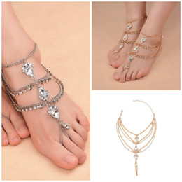 Wholesale Gypsy Anklet - 2018 Best Selling Ankle Bracelet Luxury Golden Silver Rhinestone Anklets Shining Crystal Gypsy Folk Foot Decoration