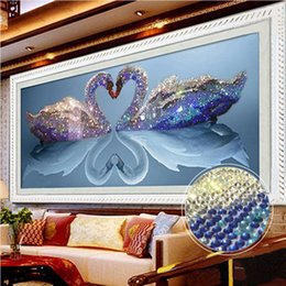 Wholesale printing wedding pictures - 5D Diamond Embroidery Painting Diy Crystal Swan Mosaic Rhinestone Cross Stitch Wall Painting Rhinestones Picture Wedding Decoration
