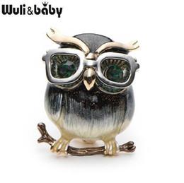 Broche para óculos on-line-WuliBaby liga de vidro coruja broches para mulheres e homens de metal pássaro animal broche de esmalte pinos presentes de natal