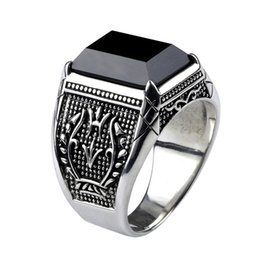 Anéis de obsidiana on-line-Anel de Homens do vintage Real Pure 925 Sterling Silver Jóias Preto Anéis de Pedra Natural Obsidian Para Mens Punk Rock Moda