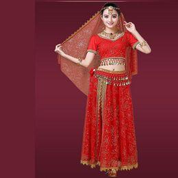 costumi indiani femminili Sconti La primavera e l'autunno di alta qualità New Indian Dance Costume Costumi per adulti Femminile Xinjiang Dance Performance Abbigliamento Belly Suit