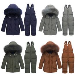 salopette d'hiver Promotion Vestes d'hiver pour enfants -30 degrés garçons manteau filles costume de ski bébé Down Jacket + Pantalon salopette épais chaud vêtements enfants Snowsuit