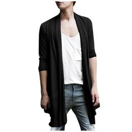 Wholesale Black Shawl Collar Cardigan - SAF-Men Shawl Collar High-Low Hem Long Cardigan 2-COLORS