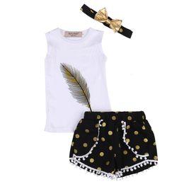 f60f0edcba190 3PCS Fashion Sleeveless Kids Girls Feather Print Tops T-shirt+Dot Ball  Tassel Shorts+Headband Summer Outfits Clothes Set