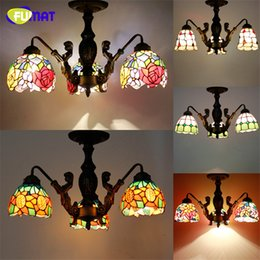 Wholesale Flower Glass Knobs - FUMAT Ceiling Lamp Creative Art Mermaid Body Stained Glass Suspension Lights Flower Baroque Restaurant Hotel Light Fixtures