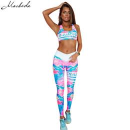 Wholesale zipper knee leggings - Macheda 2017 New 2pcs Set Women Tracksuits Suits Floral Print Set Fitness Clothing Bra Leggings 2 Colour Blue Green