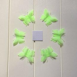 arte de pared de plástico de mariposa Rebajas 6 unids / set Plástico Luminosa Mariposa WallDecor Resplandor en la Oscuridad Mariposa Fluororescente Decal Art Noctilucentes Decorativos Pegatinas de Pared