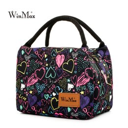 Wholesale Insulated Lunch Bag Black - Wholesale-Winmax Fashion Printing Insulated Thermal Food Fresh Lunch Bags for Factory Portable Women Kids Picnic Cooler Lunch Box Tote Bag