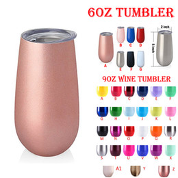 Wholesale wedding glasses wholesale - 6oz tumbler insulated unicorn cups 9oz Stainless steel tumbler water bottle Wine glasses Thermos Rose Gold wedding beer mugs Coffee mug DHL
