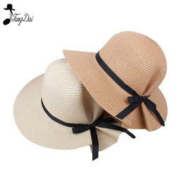 cappello di paglia di paglia Sconti 2018 Fashion Summer Straw Bucket Hat  Donna Big Wide Brim 8c8fb529fc83