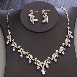 Argentina 2018 nupcial claro austriaco Rhinestone collar de cristal pendientes establecidos joyería nupcial de la boda accesorios de la boda tocado de novia No1 Suministro