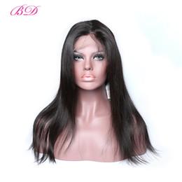 Pelucas de pelo de la cutícula online-BD barato pelucas de encaje recto de la Virgen pelucas llenas del pelo humano del cordón peluca del pelo alineado para las mujeres negras africanas