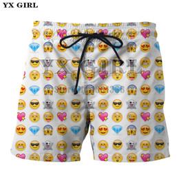 YX GIRL 2018 Nuevo Hombres de secado rápido Beach Shorts 3D Imprimir Funny Chat emoji Grass Water elijo Print Fitness Pantalones Drop Shipping desde fabricantes