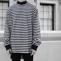 Wholesale Hiphop Fashion Stripe - 2018 Latest JUSTIN BIEBER FOG OVERSIZE stripe Long sleeve T shirt hiphop Fashion Casual High collar Cotton Tee M-XL