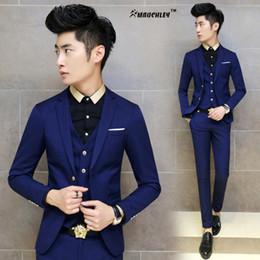 Wholesale korean slim men s suit - Men's Clothing Suits Set 3PCS  Set Mens Suit 2017 Fashion Korean Style Terno Slim Solid Color Black Navy Wedding Blazer Pant