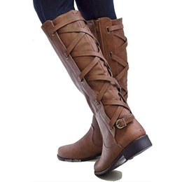6053a85fb909 Big Size 35-43 Knee High Women Boots Zipper Motorcycle Boots Low Heels  Buckle Cross Tie Platform Shoes Winter Riding