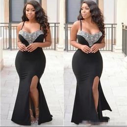 Wholesale Spandex Kaftan - 2018 Arabic Sexy Prom Dresses Sparkle Crystals Black Spandex Plus Size 2K18 Abaya Kaftan Evening Gowns With Spaghetti Straps High Slit