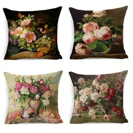 Wholesale chocolate paintings - Vintage Style Oil Painting Flowers Cushion Covers European Retro Birds And Flowers Art Pillow Cover Thick Linen Cotton Pillow Case Decor
