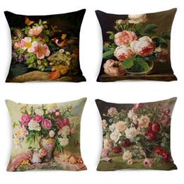 Wholesale navy decor - Vintage Style Oil Painting Flowers Cushion Covers European Retro Birds And Flowers Art Pillow Cover Thick Linen Cotton Pillow Case Decor