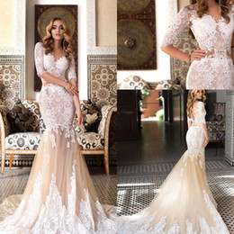 Wholesale Lace Nude Mermaid Wedding Dress - 2018 Sexy V-Neck Lace Mermaid Wedding Dresses Champagne Nude Lace Appliques Illusion Half Sleeves Bridal Gowns Plus Size Vestidos De Noiva