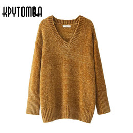 Wholesale Vintage Women S Sweaters - Vintage Chic Oversized Chenille Sweater Women 2017 New Fashion Europe Style V Neck Long Sleeve Loose Pullovers Casual Pull Femme
