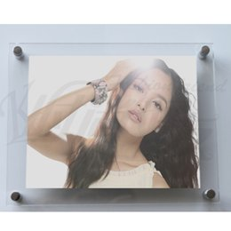Wholesale free photo poster - Free Shipping A4 Wall Mounted Acrylic Plexiglass Poster Frames Perspex Floating Frames A4 Photo Frame 15pcs lot
