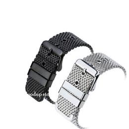 18 mm 20 mm 22 mm Malla de alambre correa de acero blet malla de malla sólida tejido cinturón hebilla reloj accesorios negro / acero desde fabricantes