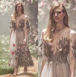 Wholesale Sheer Ankle Length Robe - Paolo Sebastian 2018 Prom Dresses Long Sleeve Embroidery Evening Gowns Ankle Length A Line Luxury Party Dress robes de soirée