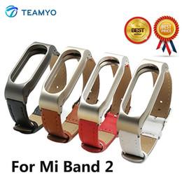 Lederarmband xiaomi online-Teamyo Lederband für Xiaomi Mi Band 2 Armband Schraubenlose Metall für Mi Band 2 Smart Armband Zubehör Xiaomi Gurt